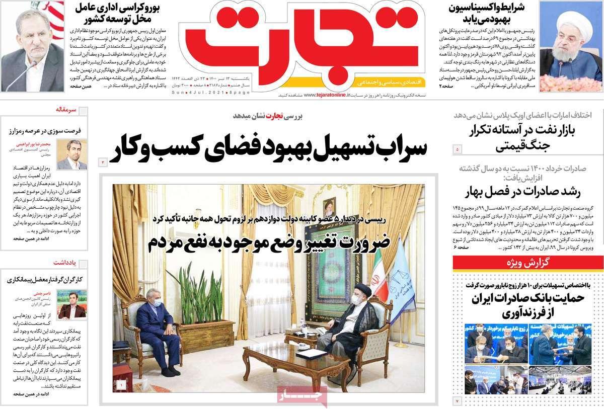 صفحه نخست روزنامه های اقتصادی صبح کشور